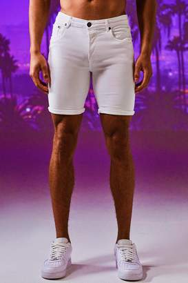 boohoo Stretch Skinny Fit White Denim Shorts