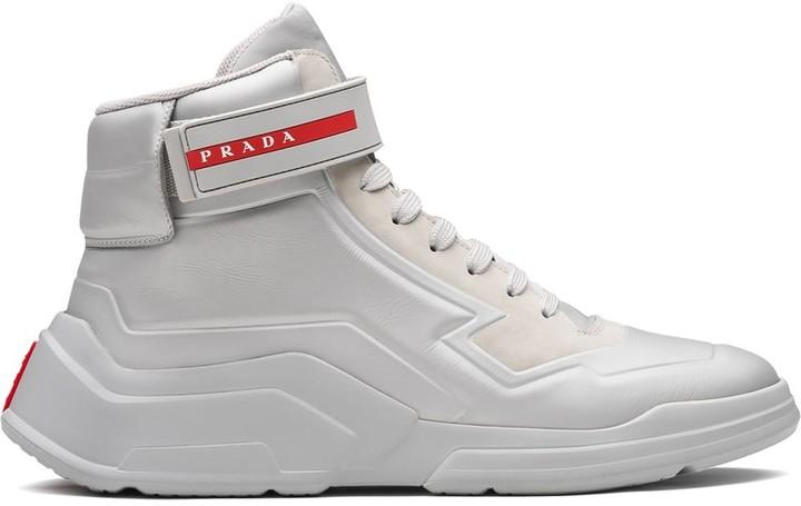 prada fabric high top sneakers