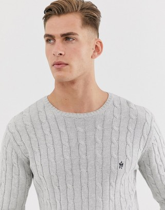 French Connection 100% cotton logo cable knit jumper-Grey