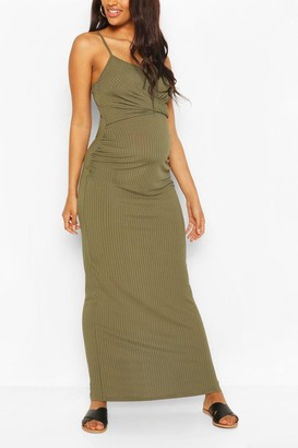 boohoo Maternity Scoop Neck Tie Front Maxi Dress