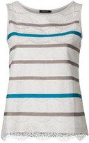 Loveless - lace striped tank - women - Cotton/Lyocell - 34