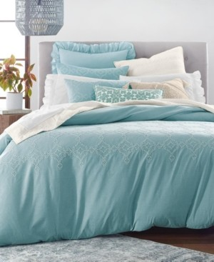 Lucky Brand Closeout! Cotton Reversible 2-Pc. Tile Seed Stitch Twin Duvet Cover Set, Created for Macy's Bedding