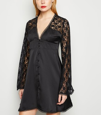 New Look Cameo Rose Satin Lace Sleeve Dress