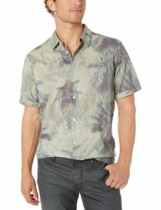 Buffalo David Bitton Men's Short Sleeve Button downpoplin White Hawaii Shirt
