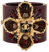 Chanel Crystal & Feather Embellished Resin Cuff Bracelet
