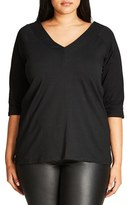 City Chic Plus Size Women's V-Front Bardot Top