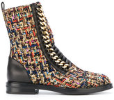 Casadei chain tweed combat boots