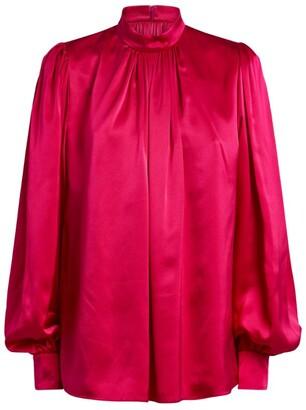 Andrew Gn Silk Balloon-Sleeved Blouse