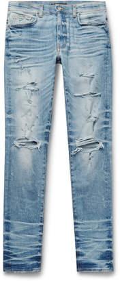 Amiri Thrasher Plus Skinny-Fit Distressed Stretch-Denim Jeans