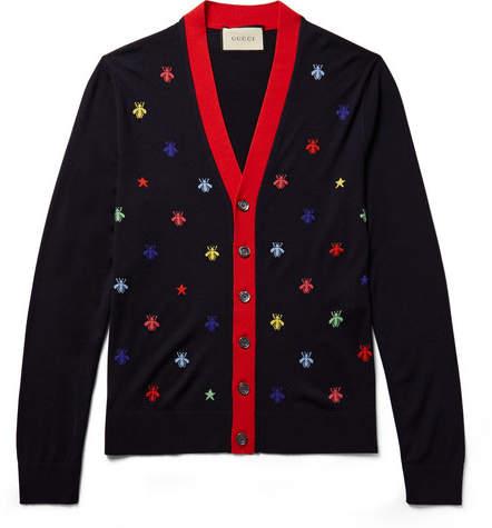 Gucci Slim-Fit Intarsia Wool Cardigan