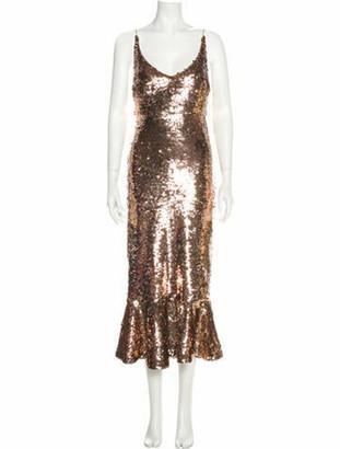 Saloni Scoop Neck Long Dress Brown