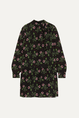 Valentino Pussy-bow Tiered Floral-print Silk Crepe De Chine Mini Dress - Black