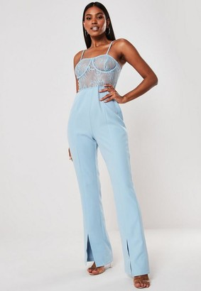 Missguided Blue Lace Bust Cup Cami Romper