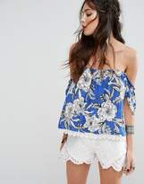 Lovers + Friends Floral Print Open Back Off-Shoulder Top