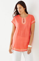 J. Jill Linen-Knit Embroidered Tunic