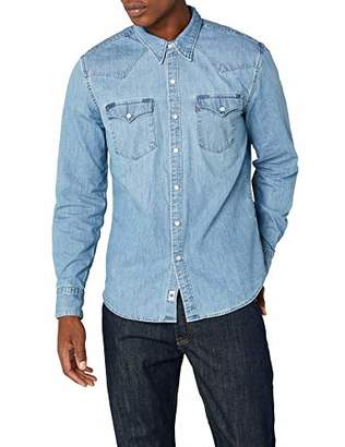 Levi's Men's Barstow Western Regular Fit Long Sleeve Casual Shirt, Blue (Red Cast Stone)