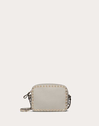Valentino Small Rockstud Grainy Leather Crossbody Bag Women Opal Grey 100% Pelle Di Vitello - Bos Taurus OneSize