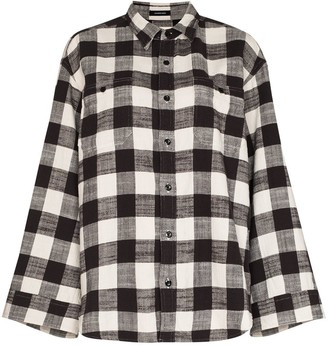 R 13 Plaid-Check Cotton Shirt