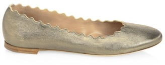 Chloé Lauren Metallic Leather Ballet Flats