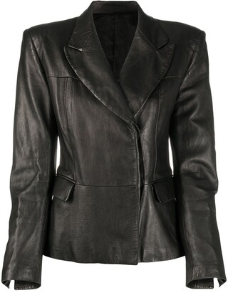 Gucci Pre Owned 1990s Leather Blazer Jacket