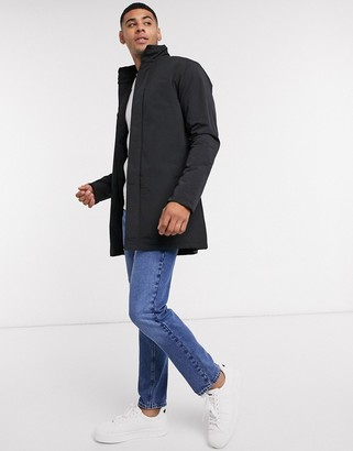French Connection lined funnel trench coat in black