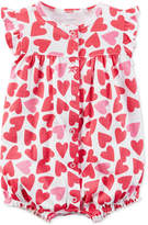 Carter's Heart-Print Cotton Romper, Baby Girls