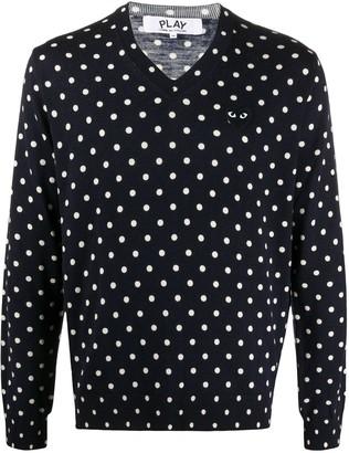 Comme des Garcons polka-dot print V-neck sweater