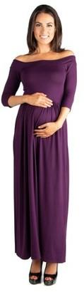 24/7 Comfort Apparel 24seven Comfort Apparel Off Shoulder Maternity Maxi Dress