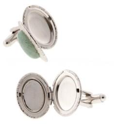 1928 Jewelry Silver-Tone Semi-Precious Aventurine Oval Cufflinks