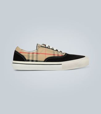 Burberry Checked cotton and suede sneakers