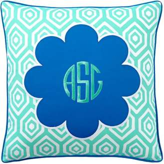Pottery Barn Teen Mix &amp Match Daisy Monogram Pillow Cover, Pool Center/Palace Blue Ground