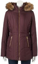 Juniors' Pink Envelope Faux-Fur Puffer Jacket