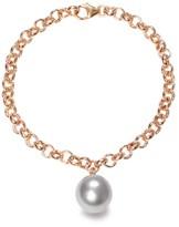 Ora Pearls Magna Gold Chain Bracelet XXL Grey Pearl