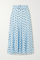 Faithfull The Brand Luda Belted Polka-dot Crepe Midi Skirt