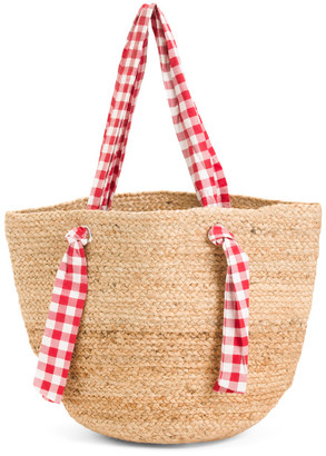 Jute Tote With Gingham Stripe Handles