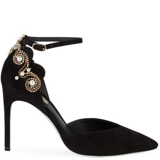 Rene Caovilla Faux-Pearl Embellished Suede Pumps