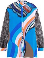 Emilio Pucci Lace-paneled printed silk-blend sateen shirt