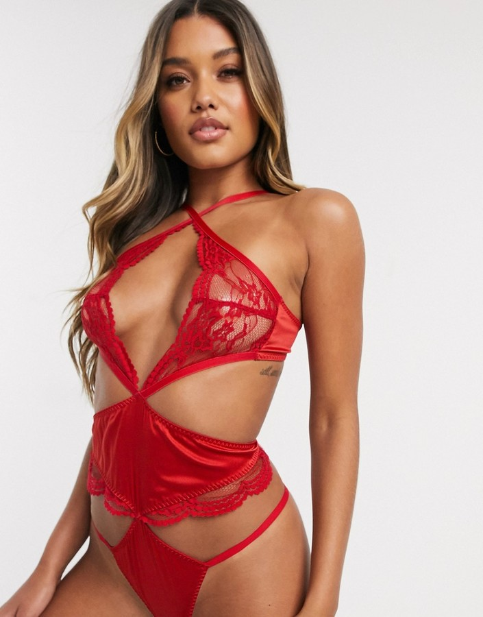 Coco de Mer Scarlett satin and sheer lace detail bodysuit in red