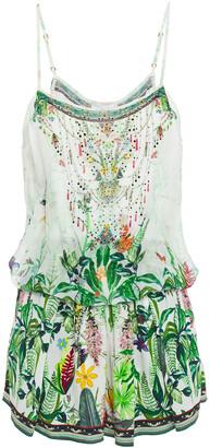 Camilla Layered Crystal-embellished Floral-print Silk Crepe De Chine Playsuit