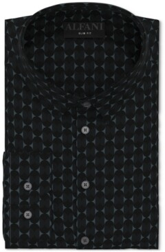 Alfani Men's Slim-Fit Performance Stretch Geo-Print Dress Shirt, Created for Macy's