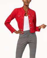 INC International Concepts Puffed-Shoulder Cropped Denim Jacket, Created for Macy's