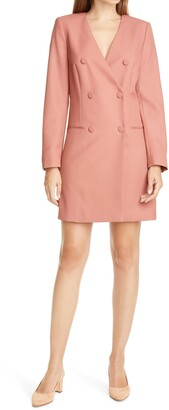 Judith & Charles Long Sleeve Double Breasted Wool Blazer Dress