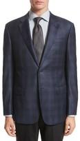 Armani Collezioni Men's G-Line Trim Fit Plaid Wool Sport Coat
