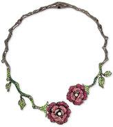 Betsey Johnson Hematite-Tone Pavé Glitter Rose and Vine Hinged Collar Necklace