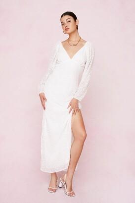 Nasty Gal Womens Bridal Leopard Devore Slit Maxi Dress - Green - 4