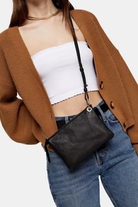 Topshop Womens Lily Black Soft Leather Cross Body Bag - Black