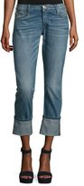 True Religion Liv Exaggerated-Cuff Low-Rise Relaxed Skinny Jeans, Indigo