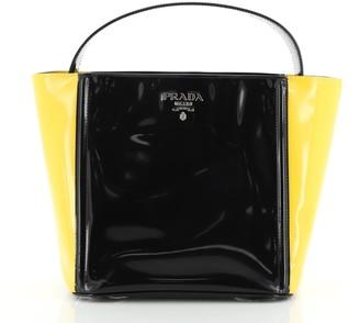 Prada Bicolor Top Handle Tote Spazzolato Leather Small