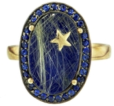 Andrea Fohrman Lapis, Rutilated Quartz and Sapphire Oval Ring