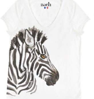 Nach White Zebra Print T Shirt - small